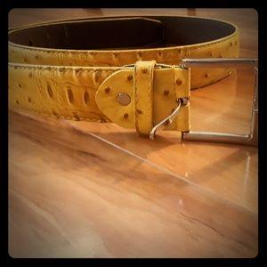 Italian Leather Belt - Yellow